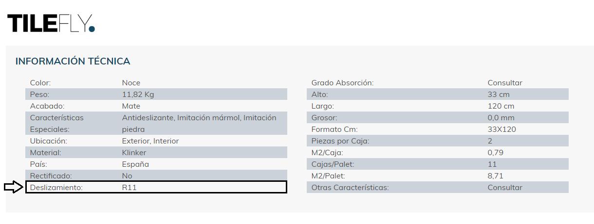 Tilefly - Clasificación R antideslizamiento