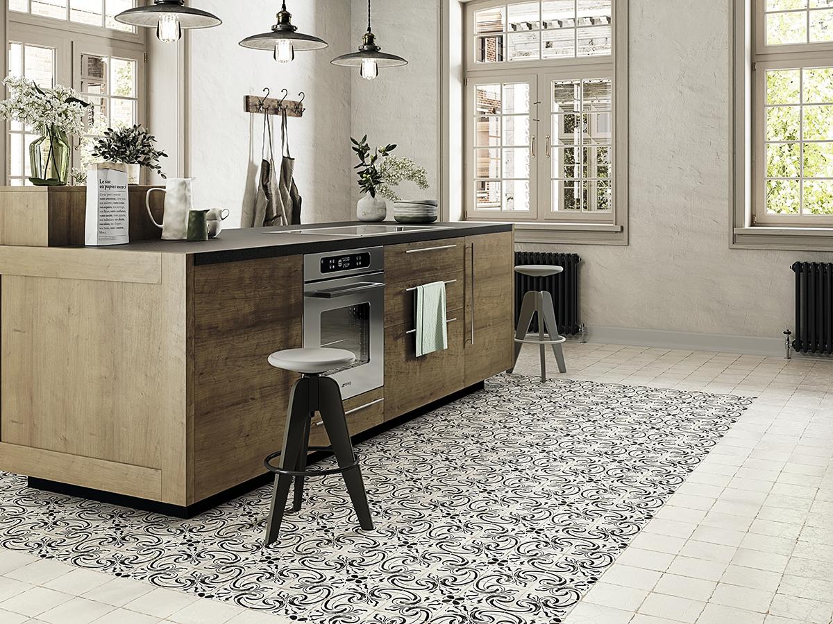 Isla central cocina con azulejos hidráulicos